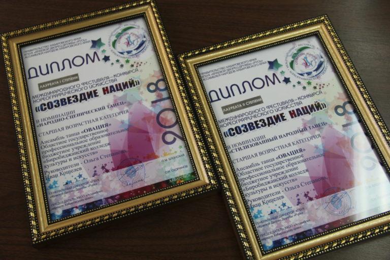 Дипломами I и II степени Международного фестиваля-конкурса хореографического искусства «Созвездие наций» награжден ансамбль танца «Овация»